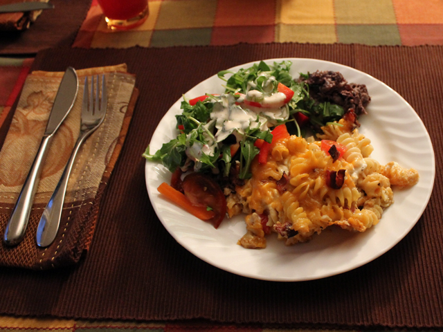 halloween-meal-mac-and-cheese-mexican-black-beans-and-tossed-salad