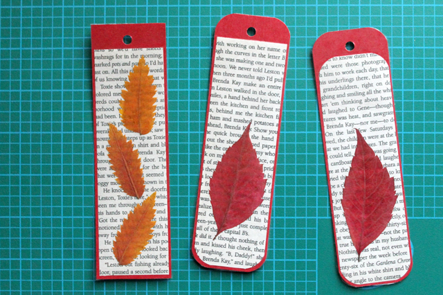 making-bookmarks-with-pressed-leaves-and-pages-from-an-old-book