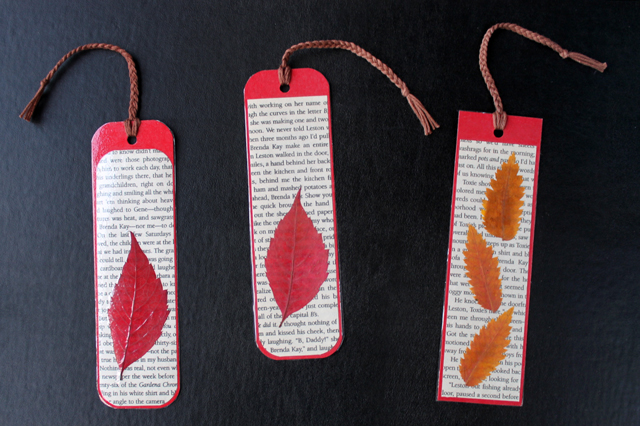 making-things-with-pressed-leaves-bookmarks-laminated-with-packing-tape-autumn-craft