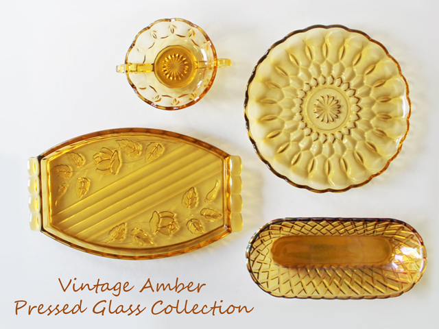 vintage-amber-pressed-glass-collection-thrifted