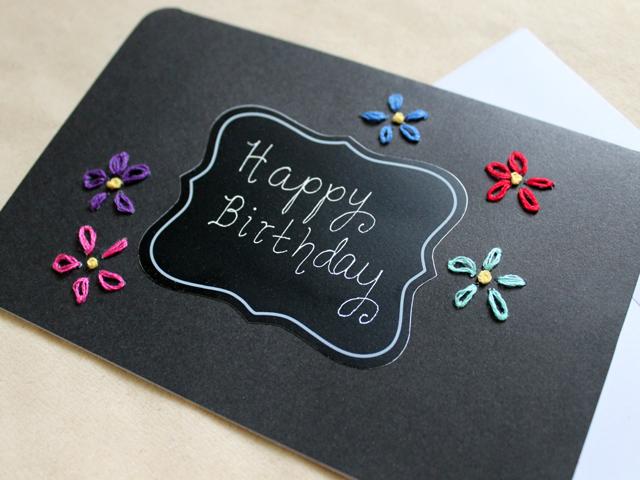 Handmade Birthday Card Coloured Embroidery On Black