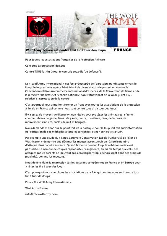 Appel à l'union de The Wolf Army France