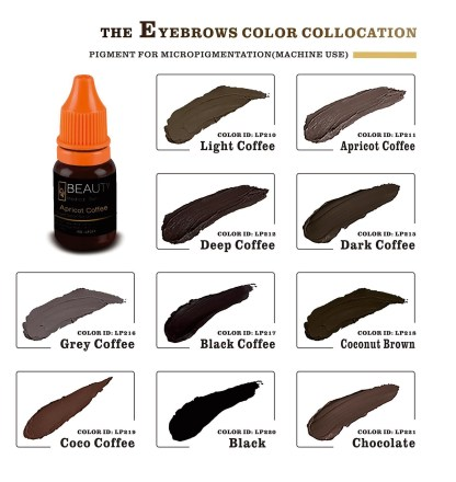 5 bottles Organic pigment for eyebrow micropigmentation