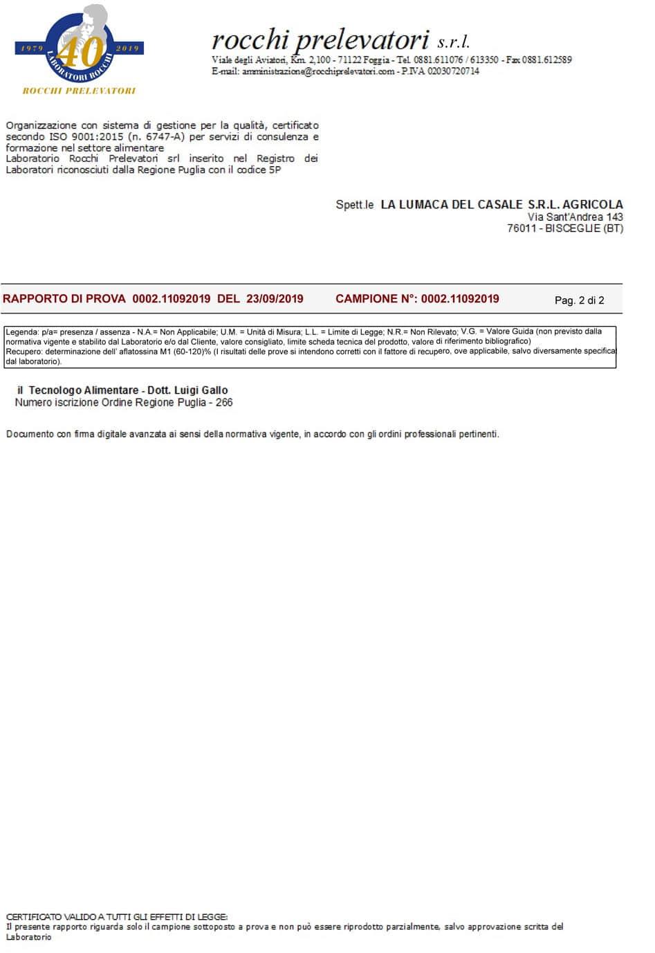 Analisi Batteriologica Bava Pura LoveHelix Pagina 2