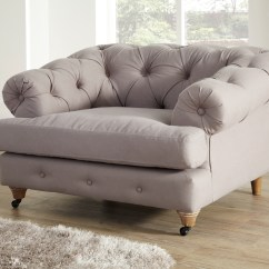 Gray Linen Chesterfield Sofa Queen Anne Sofas Mayfair 1 Seater Stonewashed Armchair