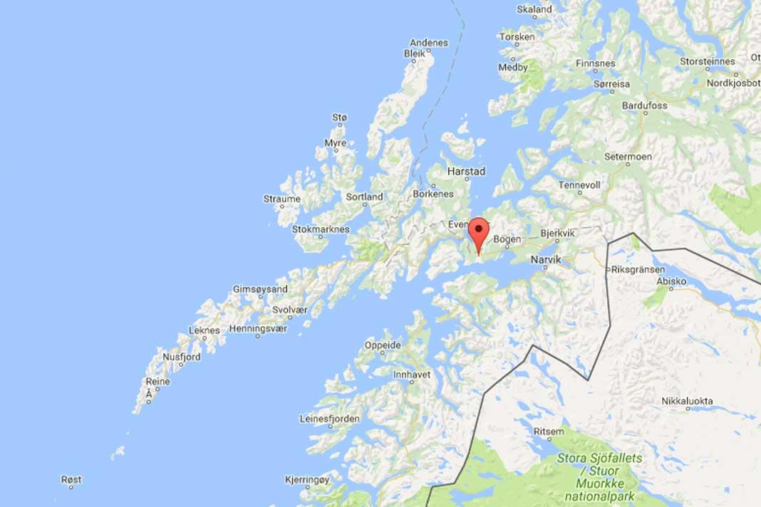 google maps evenes flyplass veggfjellet