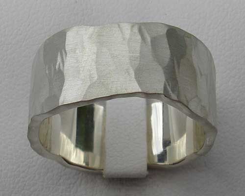 Mens Wide Hammered Silver Designer Ring LOVE2HAVE In