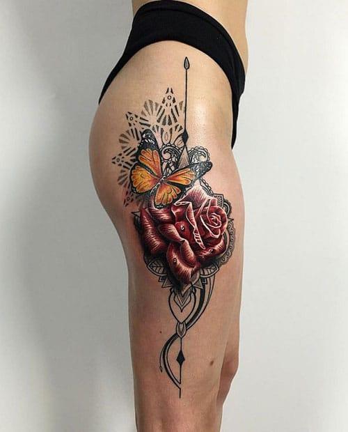 Rose Leg Tattoos For Females
