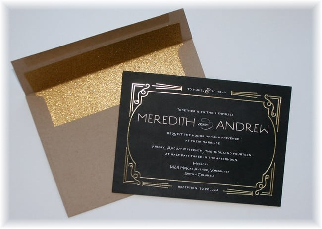 Gold Foil Printed Wedding Invitations