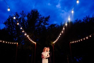 string lighting for outdoor wedding at night