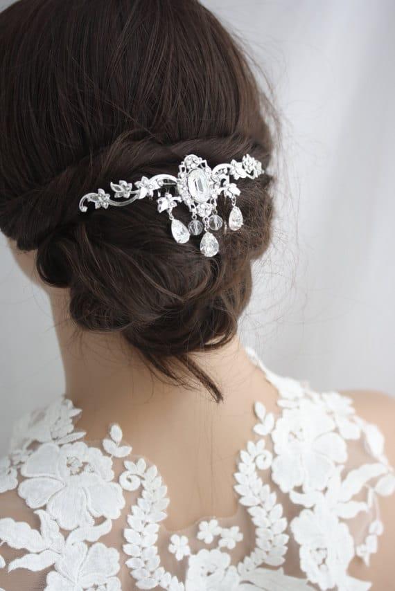 bridal headpiece hair vine leaf back wedding hair comb swarovski crystal flapper hair clip veil comb