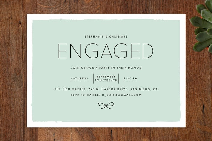 word engagement party invitations