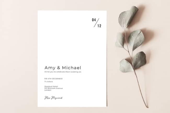 simple and minimalist wedding invitations