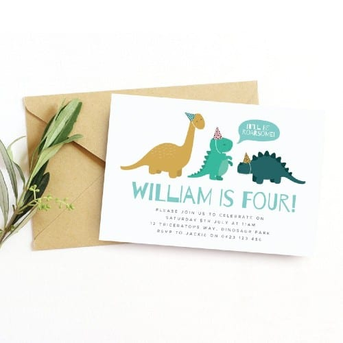 11 dinosaur birthday invitations for a