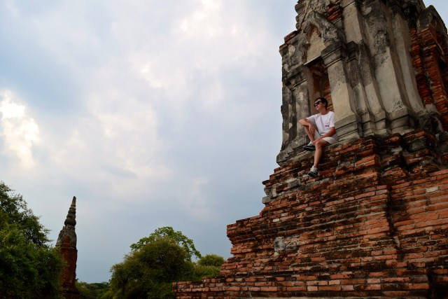 love and noodles at wat Ayutthaya Thailand small town north of Bangkok ruins temples