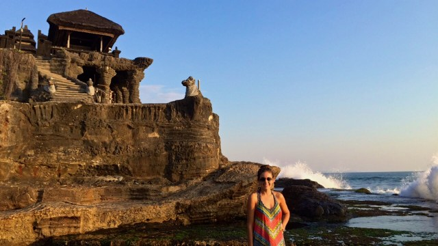 love and noodles at Tanah Lot Temple sunset Bali Indonesia waves crashing