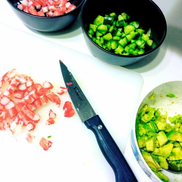 recipe chopping california bowl cucumber brown rice sushi bowl