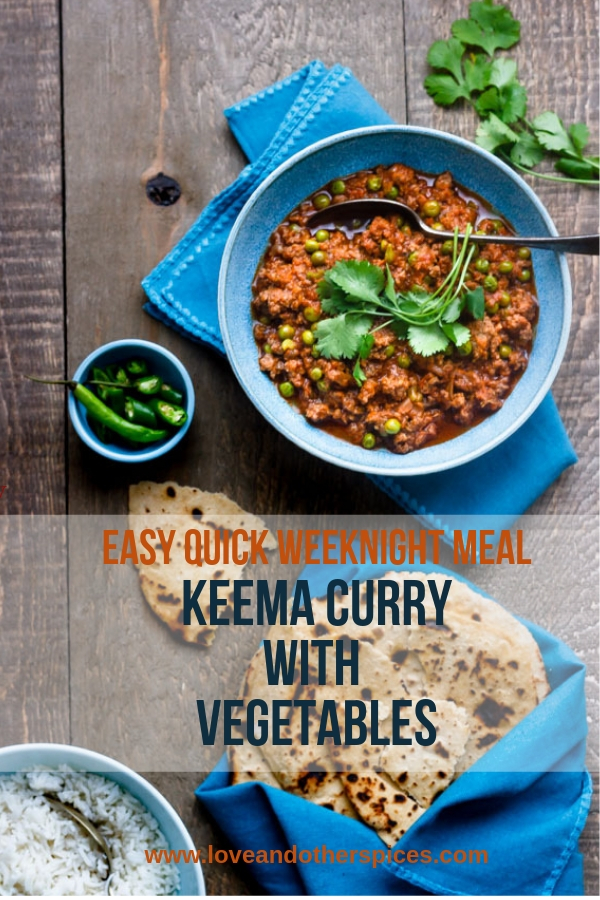 Keema curry with vegetables served with rice or roti