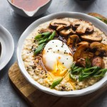 savory oatmeal with pached egg,sauteed mushrooms and scallions.