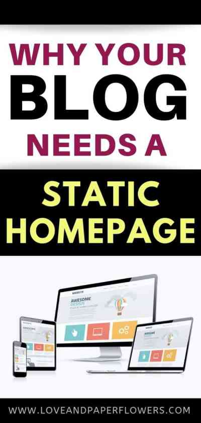 Why you should have a static home page on your blog