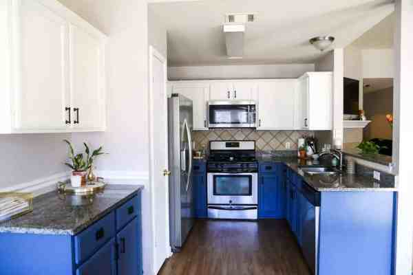 blue and white kitchen cabinet ideas Our DIY Blue & White Kitchen Cabinets - Love & Renovations