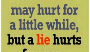 The Truth May Hurt For A Little While But A Lie hurt Forever