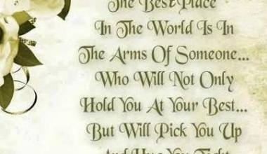 The best Place In The World is in the Arms Of Someone
