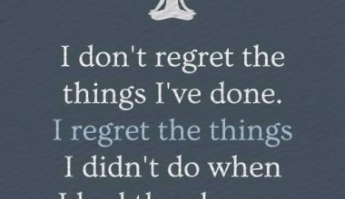 I Don't Regret The Things