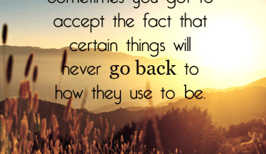 Accept The Fact That Certain Things
