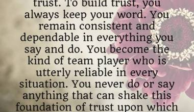 A Healty Relationship Must ultimately Be Based on Trust