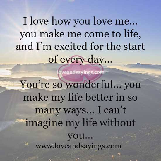 Can't imagine my life without you – Love and Sayings
