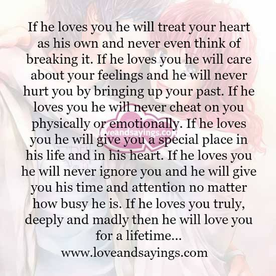 How do you know if a man truly loves you  18 Signs That