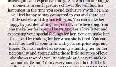 Make her happy you just need to give her your time and attention
