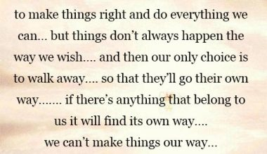 We can't make things our way