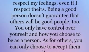 You only have control over yourself