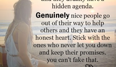 Keep their promises you can't fake that