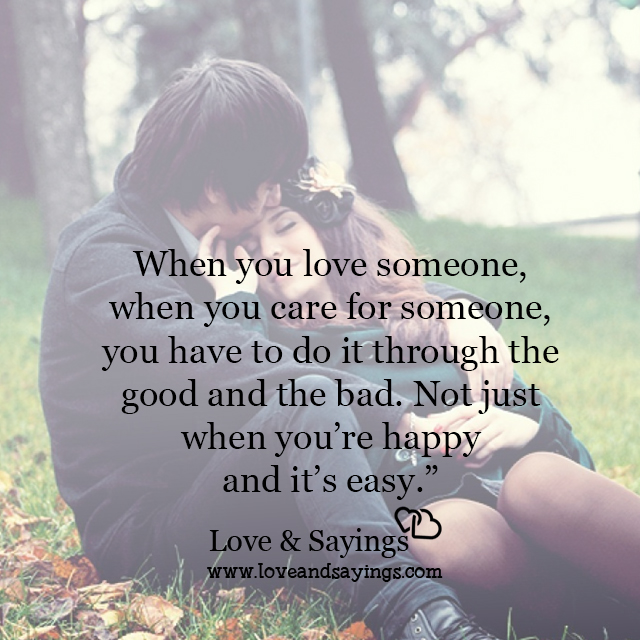 When you care for someone