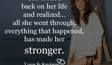 She looked back on her life and realized