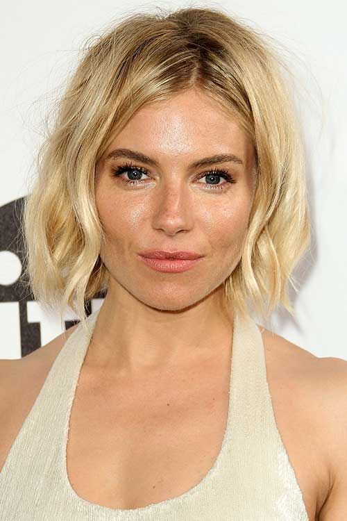 Middle parted messy bob hairstyle