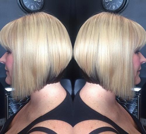 Pretty pale-blonde A-line bob with brown lowlight at nape