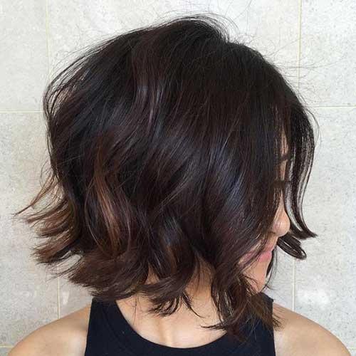 Wavy brunette bob hairstyle
