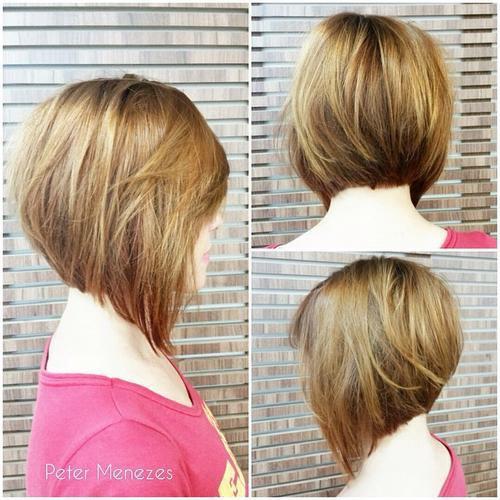 Warm-blonde A-line bob with long fringe