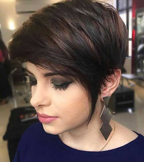 Inverted long pixie style with layering