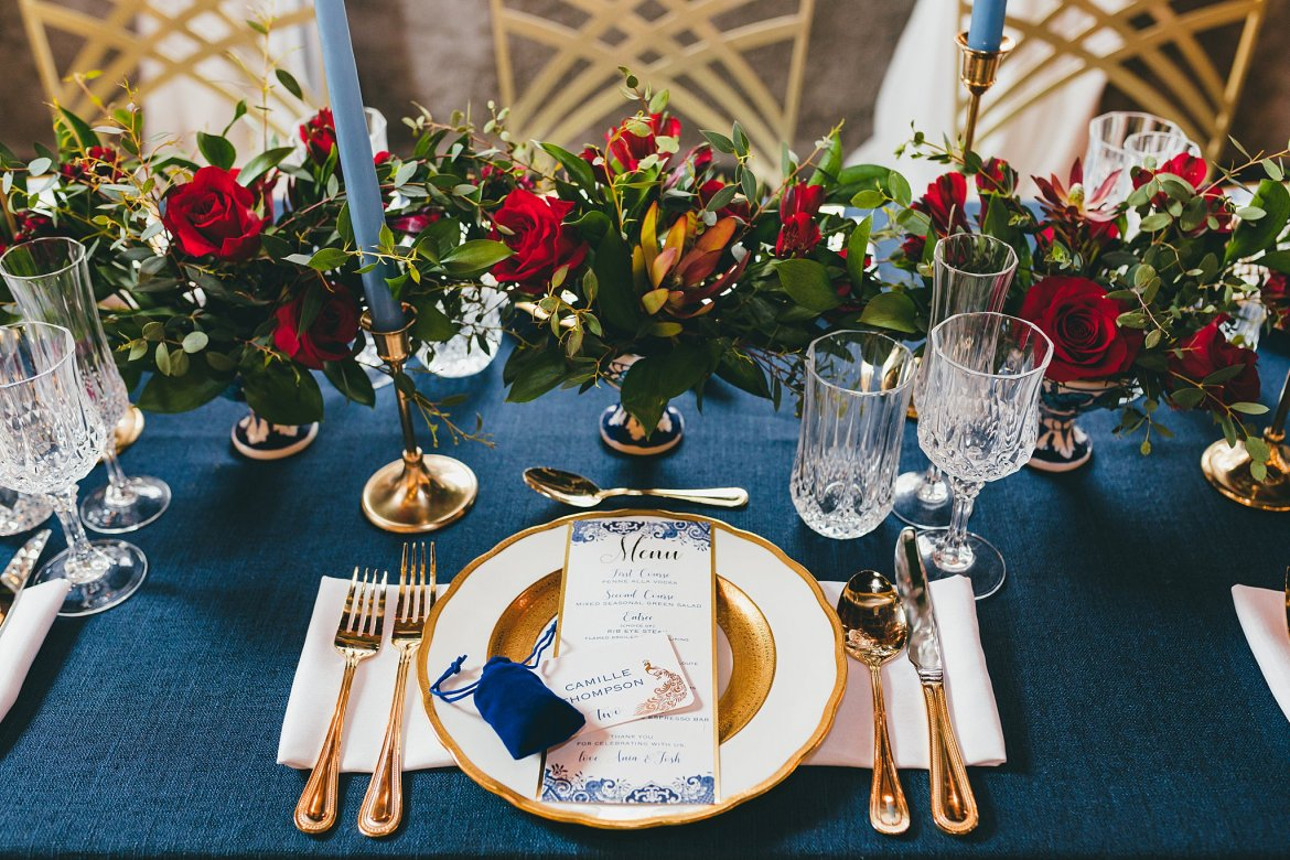 Blue, red, gold wedding inspiration