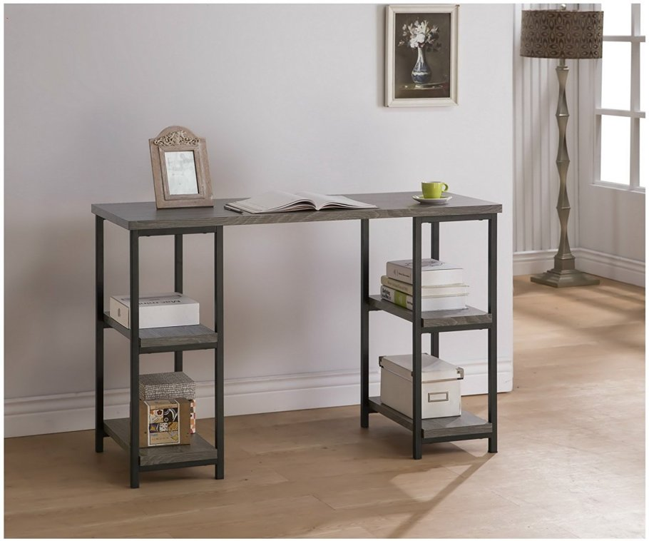 Weathered Grey & Metal Double Pedestal Desk