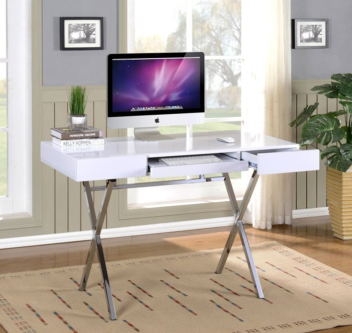 Contemporary White Chrome Desk