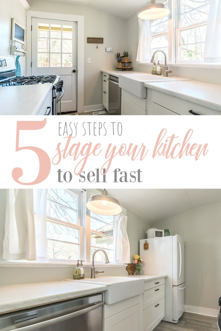This post is full of some tips other home stagers won't tell you about how to stage your kitchen to sell your house fast. So, if you're selling your home and need to stage it yourself, you want to read this post about home staging a kitchen the easy way.
