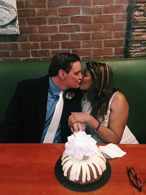 Wedding Cake Cutting Kiss