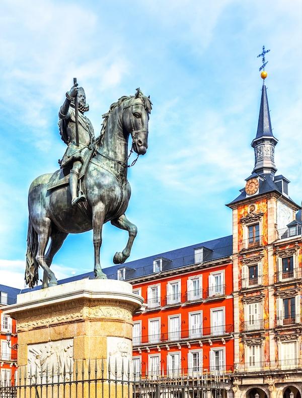 Plaza Mayor with statue of King Philips III in Madrid, Spain.