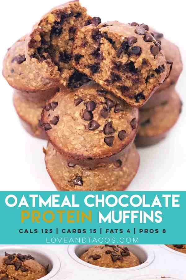 Oatmeal Chocolate Protein Muffins Pinterest Image - Love And Tacos